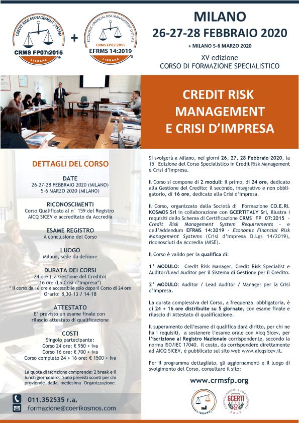 CORSO DI FORMAZIONE PER CREDIT RISK MANAGER + CRISI D'IMPRESA 2020