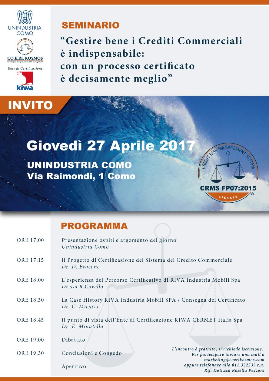 Seminario Gestione del Credito - 27 Aprile 2017 - Como
