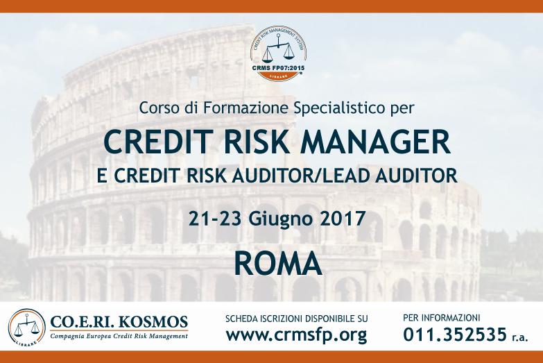corso di formazione per credit risk manager roma 2017