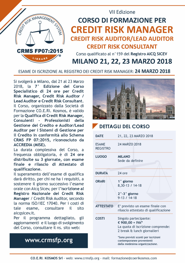 corso credit risk manager milano 2018