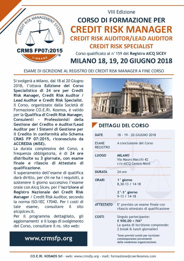 corso credit risk manager milano 2018