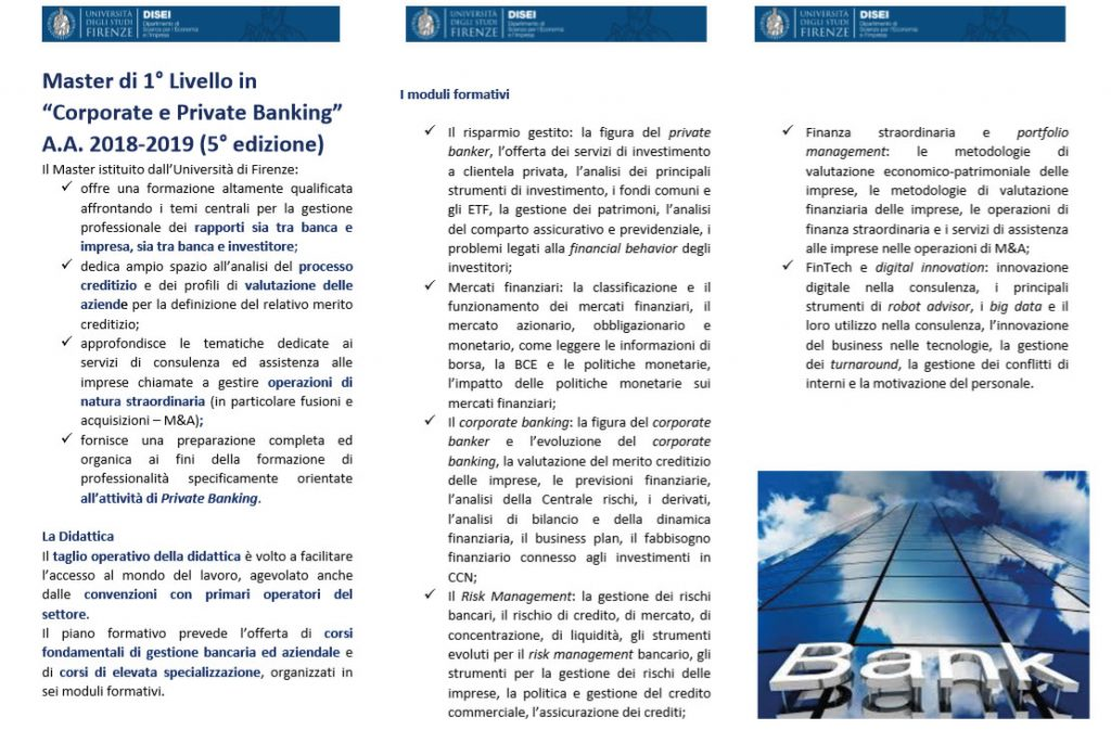 Master Firenze Corporate e Private Banking