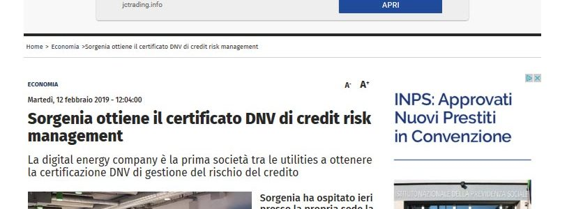 sorgenia certificazione credit risk management