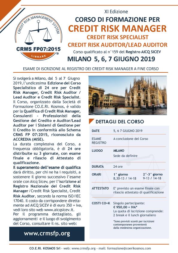 Corso formazione Credit Manager Milano 2019