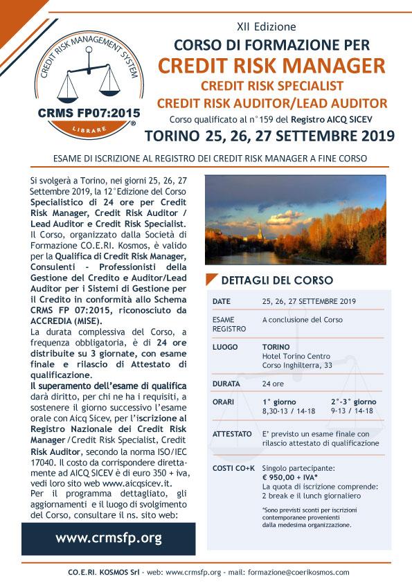 Corso formazione Credit Risk Manager 2019 Torino