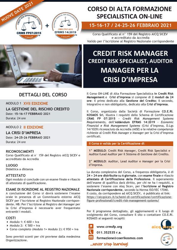 Corso Credit Risk Management e Crisi d'Impresa ON-LINE 2021