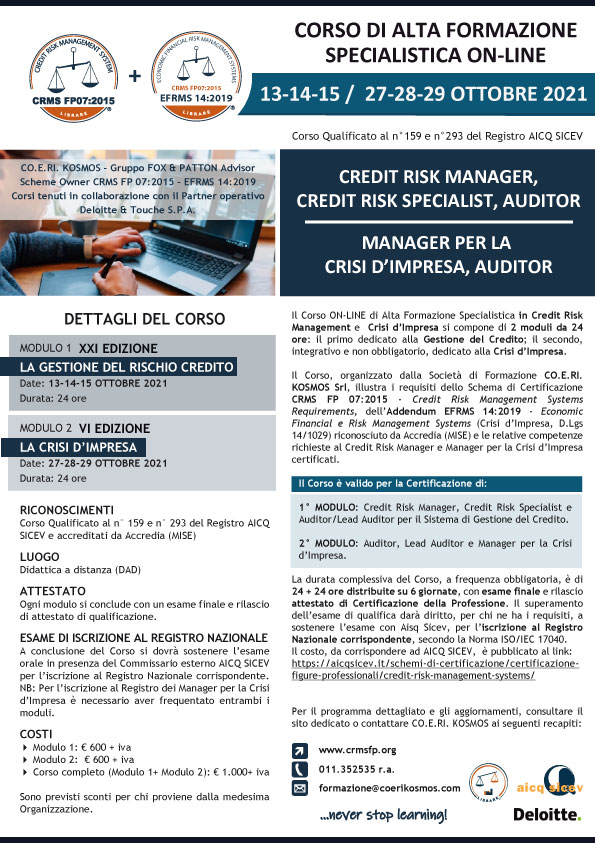 corso credit manager crisi d'impresa 2021