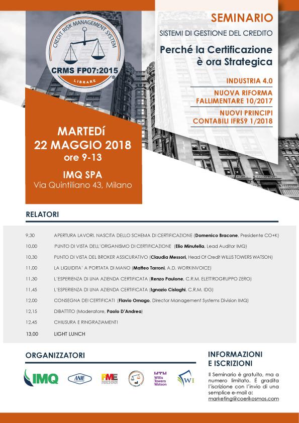 Seminario Credit Risk Management - Milano 22 Maggio 2018