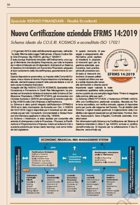 EFRMS 14:2019 - Sole 24 ore - 25/09/2019