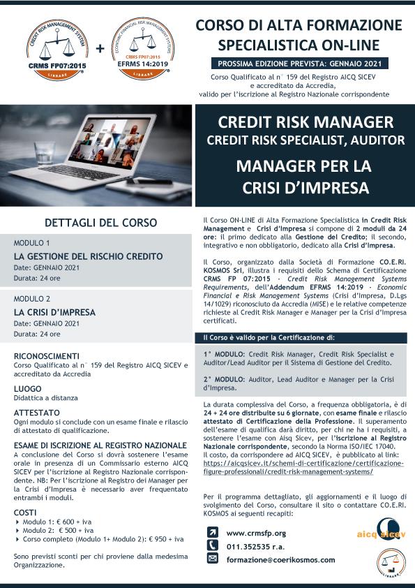 cORSO FORMAZIONE CREDTI MANAGER E MANAGER PER LA CRISI D'IMPRESA ON-LINE