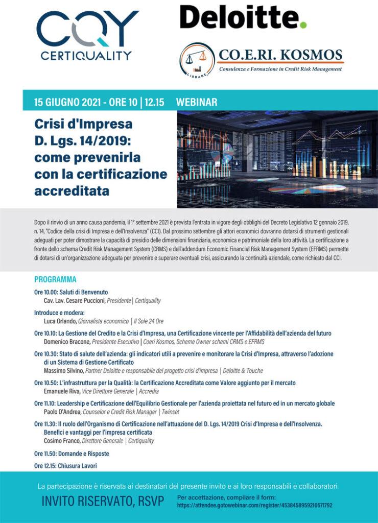 WEBINAR CRISI D'IMPRESA E CERTIFICAZIONE 2021