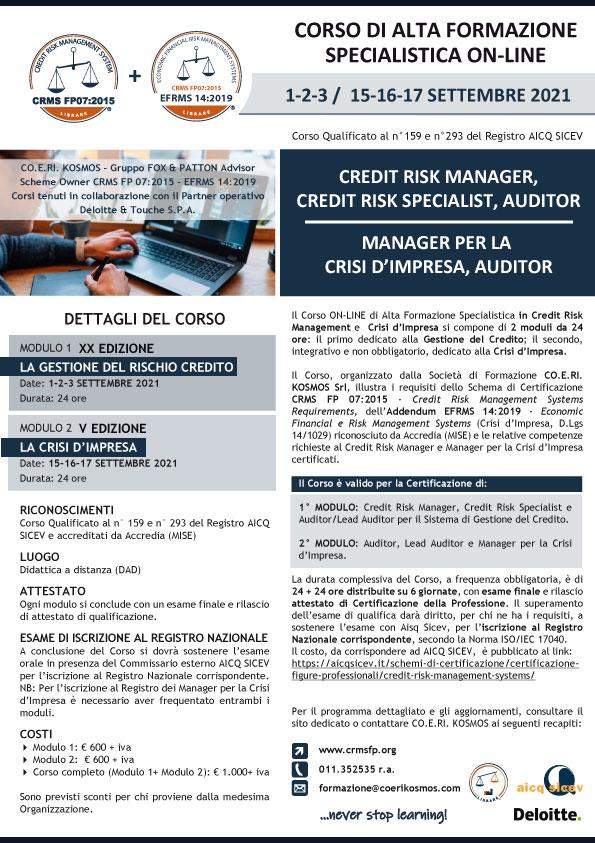 Corso di Formazione per Credit Risk Manager e Manager per la Crisi d'Impresa 2021